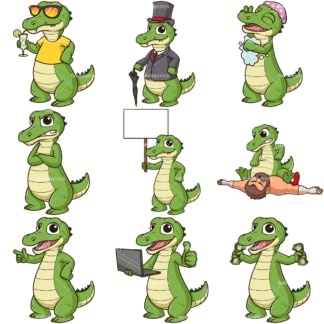 Cartoon alligator mascot. PNG - JPG and infinitely scalable vector EPS - on white or transparent background.