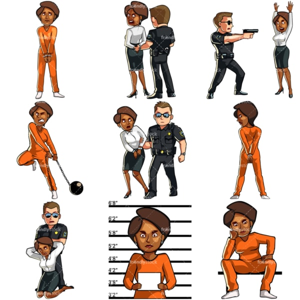 Cartoon black female in legal trouble. PNG - JPG and vector EPS file formats (infinitely scalable). Images isolated on transparent background.