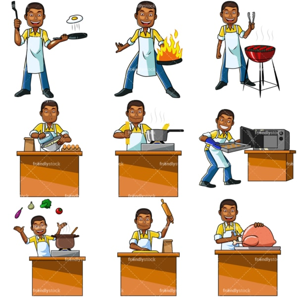 Cartoon black male cooking. PNG - JPG and vector EPS file formats (infinitely scalable). Images isolated on transparent background.