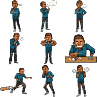 Cartoon black male smoker. PNG - JPG and vector EPS file formats (infinitely scalable). Images isolated on transparent background.
