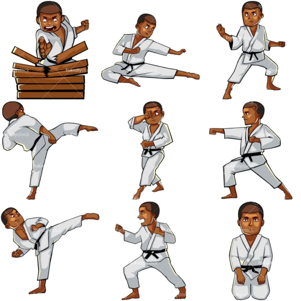 Cartoon black man doing karate. PNG - JPG and vector EPS file formats (infinitely scalable). Images isolated on transparent background.