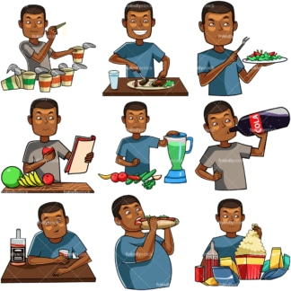 Cartoon black man eating & drinking. PNG - JPG and vector EPS file formats (infinitely scalable). Images isolated on transparent background.