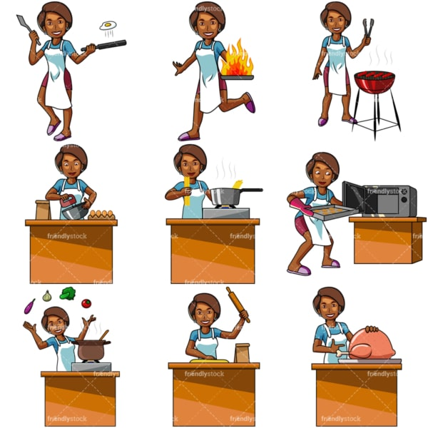 Cartoon black woman cooking. PNG - JPG and vector EPS file formats (infinitely scalable). Images isolated on transparent background.