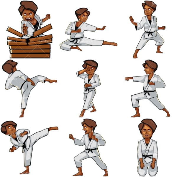 Cartoon black woman doing karate. PNG - JPG and vector EPS file formats (infinitely scalable). Images isolated on transparent background.