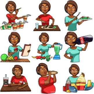 Cartoon black woman eating & drinking. PNG - JPG and vector EPS file formats (infinitely scalable). Images isolated on transparent background.