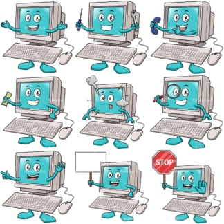Cartoon computer character. PNG - JPG and infinitely scalable vector EPS - on white or transparent background.