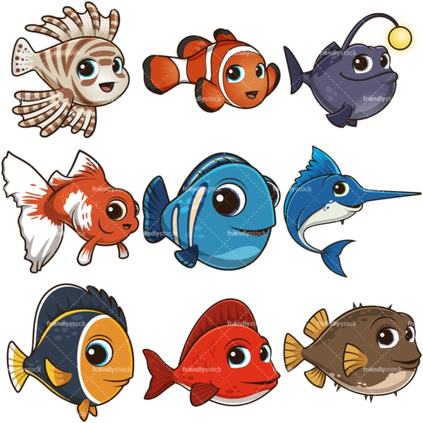 Cartoon cute fish. PNG - JPG and infinitely scalable vector EPS - on white or transparent background.