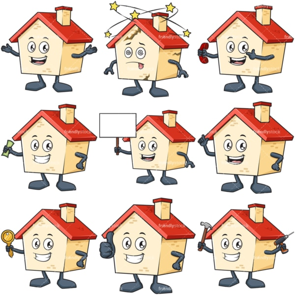 Cartoon house character. PNG - JPG and infinitely scalable vector EPS - on white or transparent background.