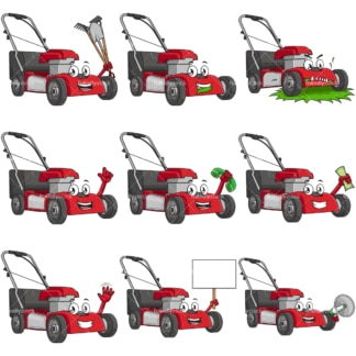 Cartoon lawn mower character. PNG - JPG and infinitely scalable vector EPS - on white or transparent background.