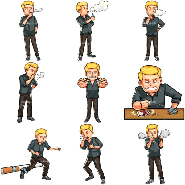 Cartoon male smoker. PNG - JPG and vector EPS file formats (infinitely scalable). Images isolated on transparent background.