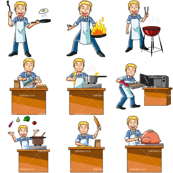 Cartoon man cooking. PNG - JPG and vector EPS file formats (infinitely scalable). Images isolated on transparent background.