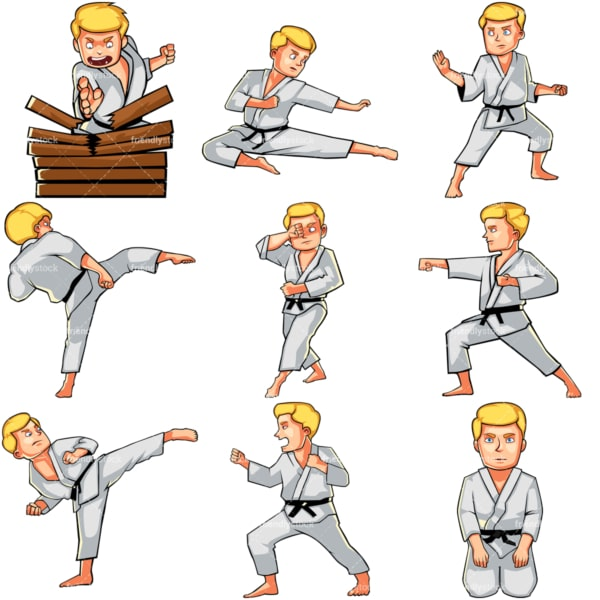 Cartoon man doing karate. PNG - JPG and vector EPS file formats (infinitely scalable). Images isolated on transparent background.