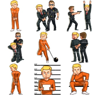 Cartoon man in legal trouble & under arrest. PNG - JPG and vector EPS file formats (infinitely scalable). Images isolated on transparent background.