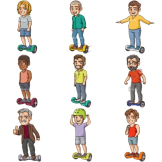 Cartoon men riding hoverboards. PNG - JPG and infinitely scalable vector EPS - on white or transparent background.