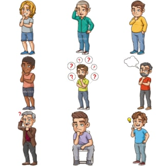 Cartoon men thinking. PNG - JPG and infinitely scalable vector EPS - on white or transparent background.
