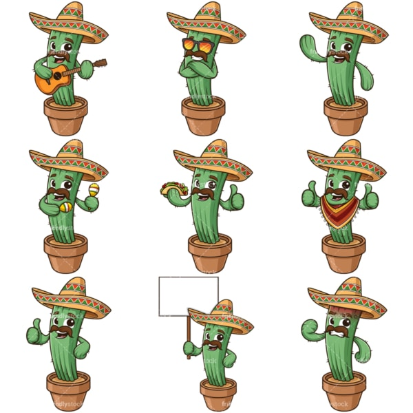 Cartoon mexican cactus character. PNG - JPG and infinitely scalable vector EPS - on white or transparent background.