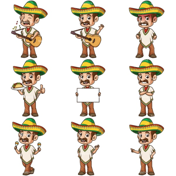 Cartoon mexican man. PNG - JPG and infinitely scalable vector EPS - on white or transparent background.