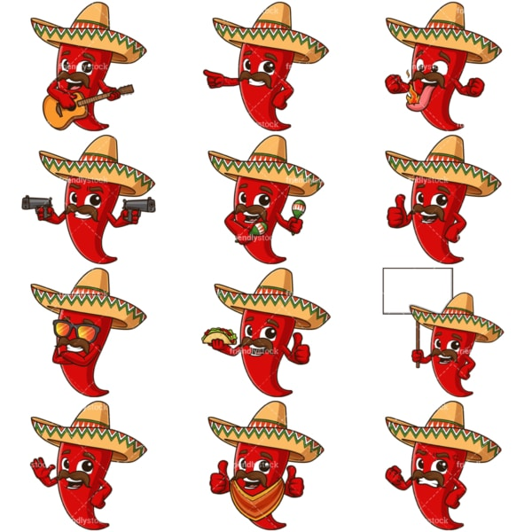 Cartoon mexican red chili pepper. PNG - JPG and vector EPS file formats (infinitely scalable). Images isolated on transparent background.