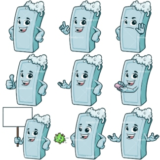 Cartoon soap bar character. PNG - JPG and infinitely scalable vector EPS - on white or transparent background.