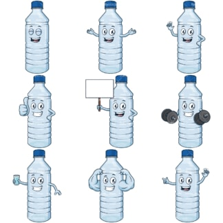 Cartoon watter bottle character. PNG - JPG and infinitely scalable vector EPS - on white or transparent background.