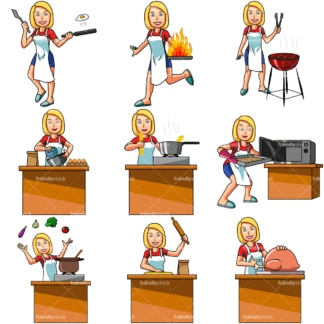 Cartoon woman cooking. PNG - JPG and vector EPS file formats (infinitely scalable). Images isolated on transparent background.