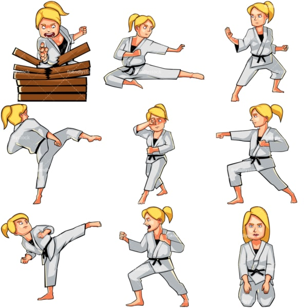 Cartoon woman doing karate. PNG - JPG and vector EPS file formats (infinitely scalable). Images isolated on transparent background.
