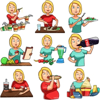 Cartoon woman eating & drinking. PNG - JPG and vector EPS file formats (infinitely scalable). Images isolated on transparent background.