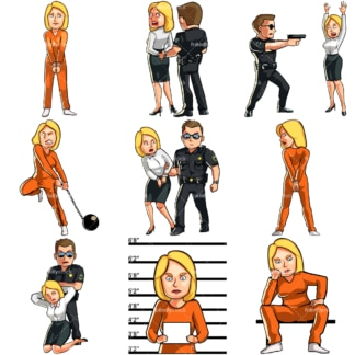 Cartoon woman in legal trouble & under arrest. PNG - JPG and vector EPS file formats (infinitely scalable). Images isolated on transparent background.