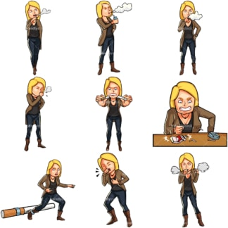 Cartoon woman smoker. PNG - JPG and vector EPS file formats (infinitely scalable). Images isolated on transparent background.