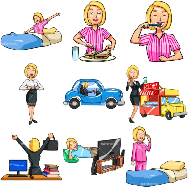 Caucasian woman daily routine. PNG - JPG and vector EPS file formats (infinitely scalable). Images isolated on transparent background.