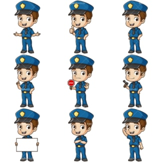 Cute policeman. PNG - JPG and infinitely scalable vector EPS - on white or transparent background.