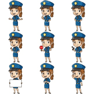 Cute policewoman. PNG - JPG and infinitely scalable vector EPS - on white or transparent background.
