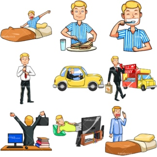 Young man daily routine. PNG - JPG and vector EPS file formats (infinitely scalable). Images isolated on transparent background.