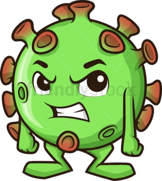 Angry coronavirus. PNG - JPG and vector EPS (infinitely scalable).