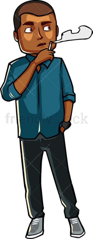 Black Black man smoking a cigarette. PNG - JPG and vector EPS file formats (infinitely scalable). Image isolated on transparent background.