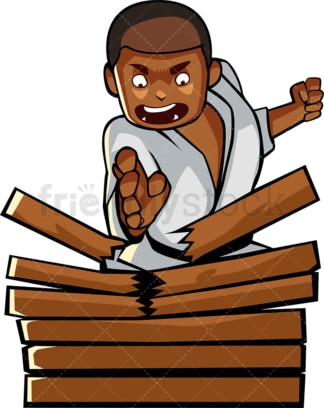 Black male karate chops wood. PNG - JPG and vector EPS file formats (infinitely scalable). Image isolated on transparent background.