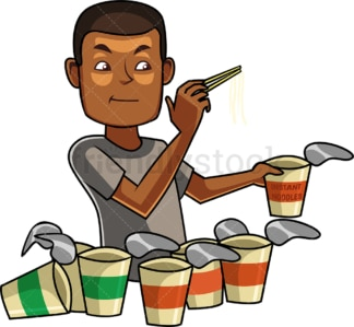 Black man eating noodles. PNG - JPG and vector EPS file formats (infinitely scalable). Image isolated on transparent background.