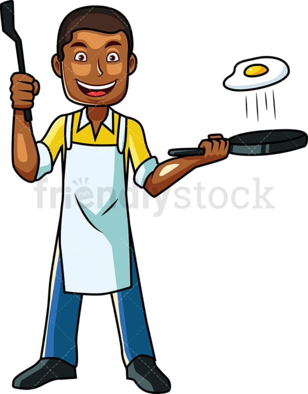 Black man frying up an egg. PNG - JPG and vector EPS file formats (infinitely scalable). Image isolated on transparent background.