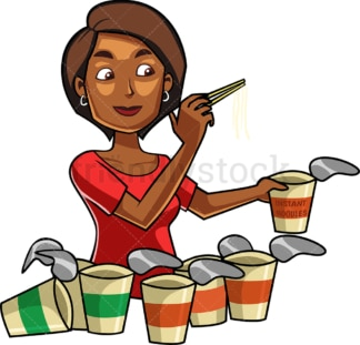 Black woman eating noodles. PNG - JPG and vector EPS file formats (infinitely scalable). Image isolated on transparent background.