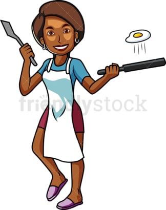 Black woman frying an egg. PNG - JPG and vector EPS file formats (infinitely scalable). Image isolated on transparent background.