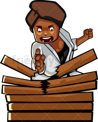 Black woman karate chopping wood. PNG - JPG and vector EPS file formats (infinitely scalable). Image isolated on transparent background.