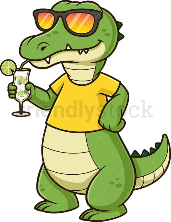 Cool alligator with sunglasses. PNG - JPG and vector EPS (infinitely scalable).