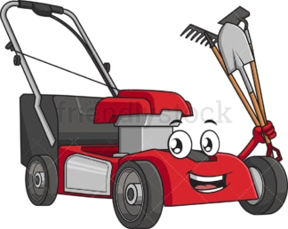 Lawn mower with gardening tools. PNG - JPG and vector EPS (infinitely scalable).