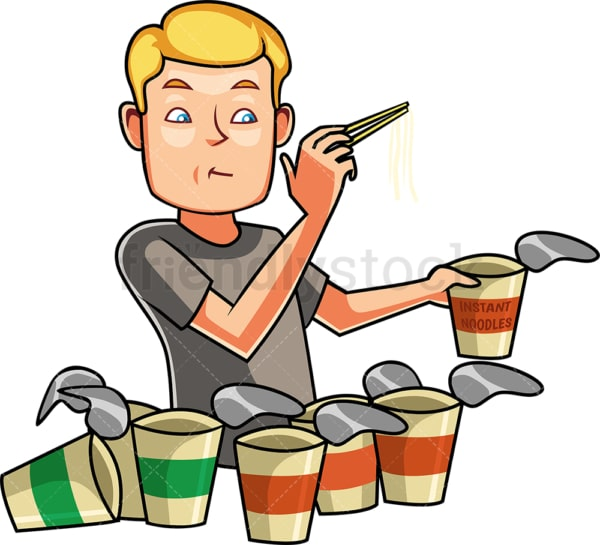 Man eating instant noodles. PNG - JPG and vector EPS file formats (infinitely scalable). Image isolated on transparent background.