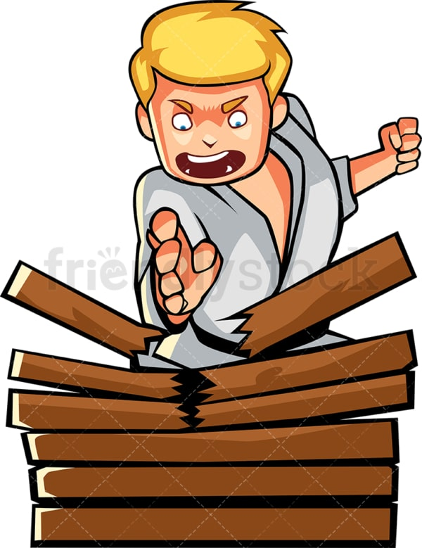 Man karate chopping stack of wood. PNG - JPG and vector EPS file formats (infinitely scalable). Image isolated on transparent background.