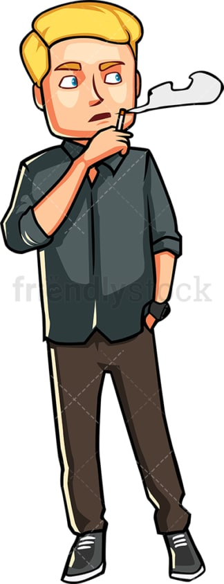 Man smoking a cigarette. PNG - JPG and vector EPS file formats (infinitely scalable). Image isolated on transparent background.