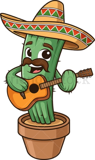 Mexican cactus playing guitar. PNG - JPG and vector EPS (infinitely scalable).