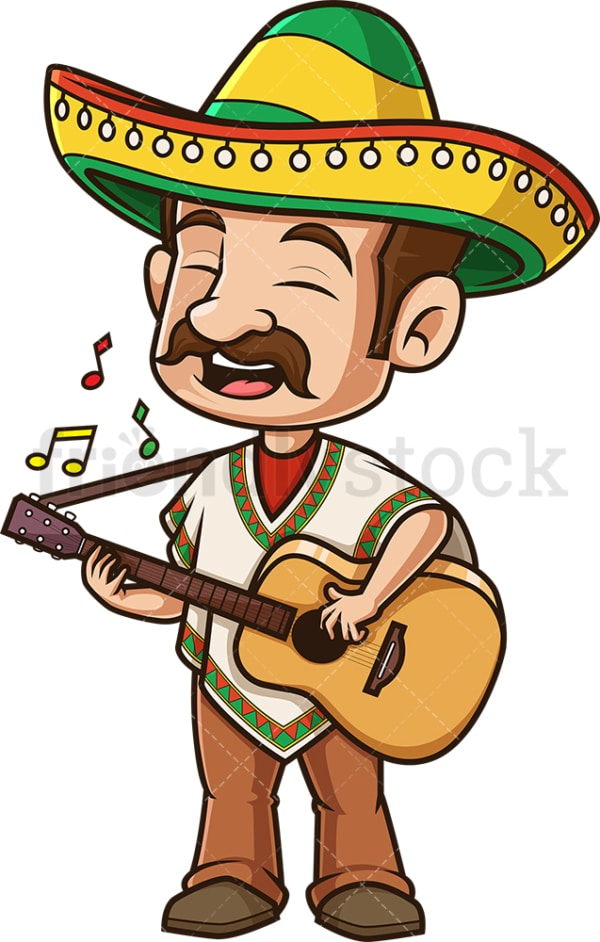 Mexican man playing guitar. PNG - JPG and vector EPS (infinitely scalable).