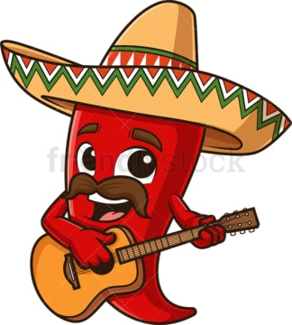 Mexican red pepper playing guitar. PNG - JPG and vector EPS file formats (infinitely scalable). Image isolated on transparent background.