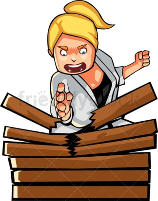 Woman karate chopping stack of wood. PNG - JPG and vector EPS file formats (infinitely scalable). Image isolated on transparent background.